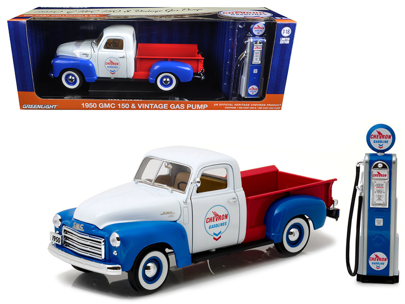 1950 Gmc 150 Pickup Truck Chevron With Vintage Gas Pump 1 18 Cast Model Car By Greenlight