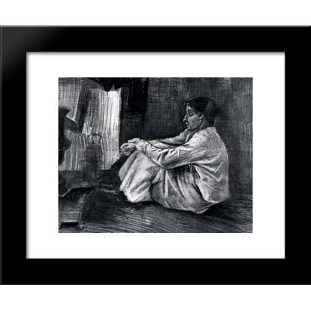 - Sien with Cigar Sitting on the Floor near Stove 20x24 Framed Art Print by Vincent van Gogh