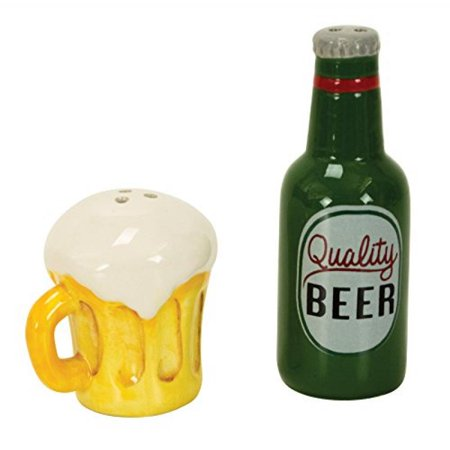 Beer and Mug Salt & Pepper Shakers, Hand-painted Ceramic by Boston Warehouse