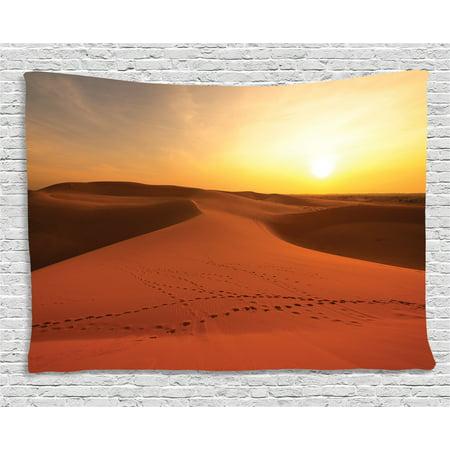 Desert Tapestry, Footprints on Sand Dunes at Sunrise Hot Dubai ...