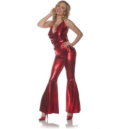 Lady Of The Night Costume (Women's 70s Ladies Night Red Disco Diva)