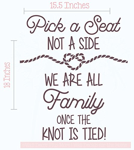 Pick a Seat Not a Side Wall Vinyl Decals Lettering Sticker Wedding Quote Décor, 15.5 X 18 , Eggplant
