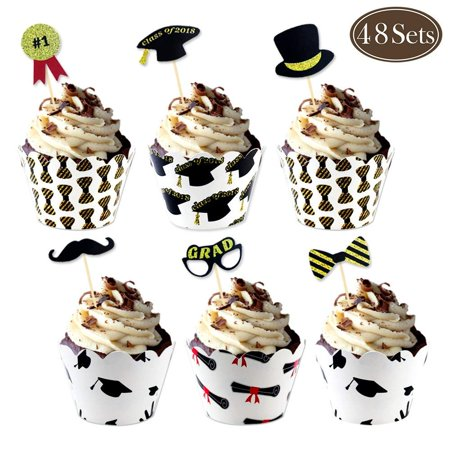Graduation Cupcake Wrappers And Cupcake Toppers Congrats Grad Party Supplies Cake Decorations Graduation