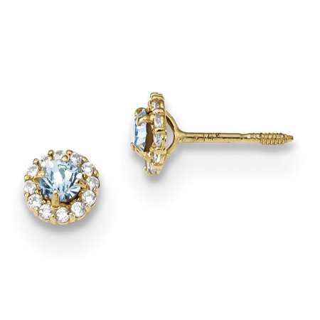 30e2110a1 IceCarats - 14k Yellow Gold Blue Clear Cubic Zirconia Cz Post Stud Earrings  Ball Button Gifts For Women For Her - Walmart.com
