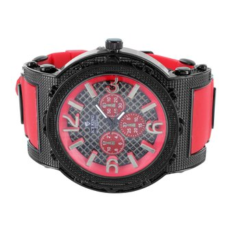 Mens Black Red Watch Red Rubber Silicone Band Analog Water Resistant Ice King