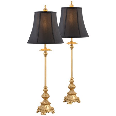 Regency Hill Traditional Buffet Table Lamps Set of 2 Gold Intricate Details Black Fabric Bell Shade for Dining Room