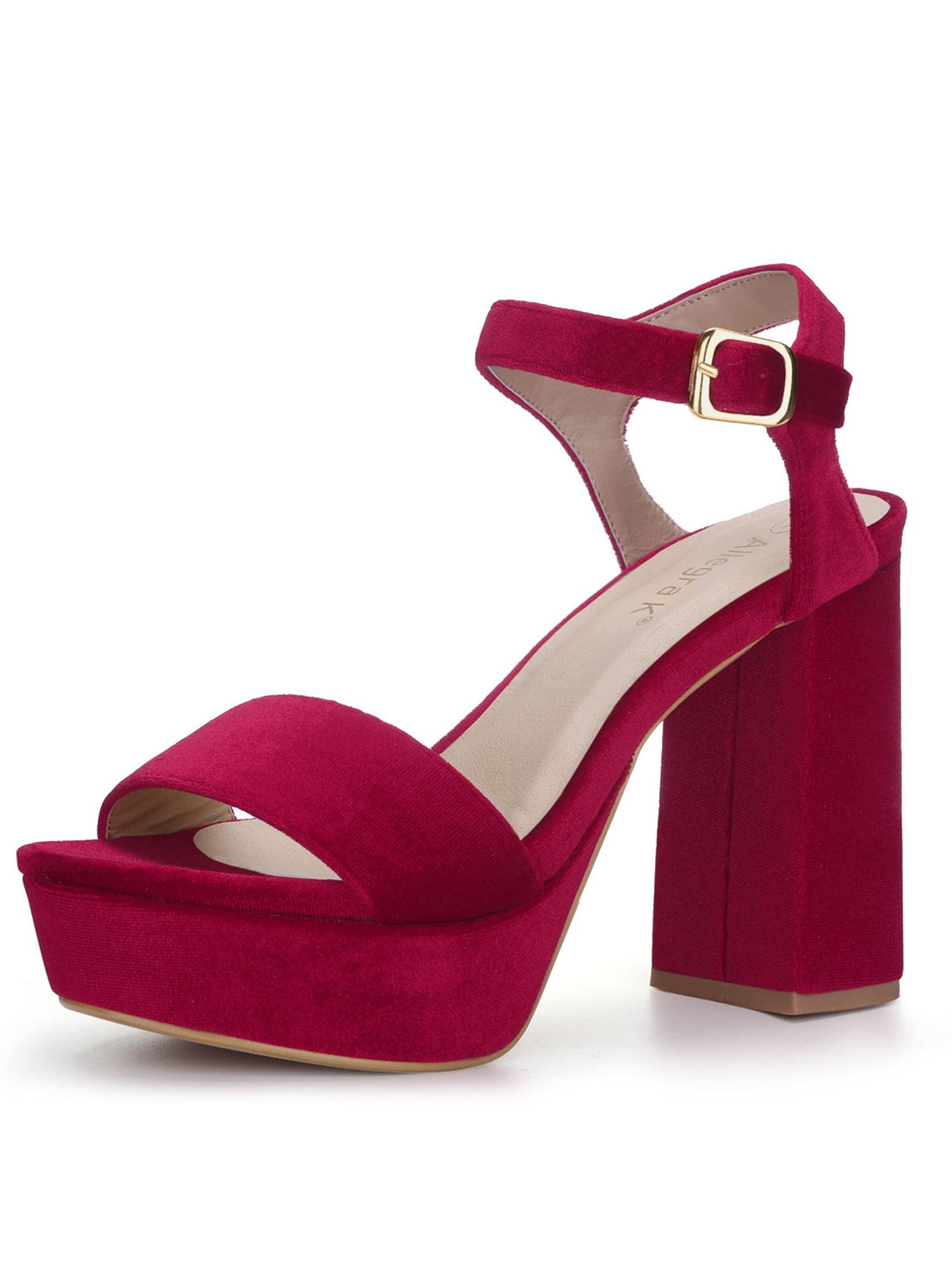 red block heel platform sandals