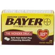 4 Pack - Genuine Bayer Aspirin Pain Reliver/Fever Reducer 325mg 24 Tablets Each