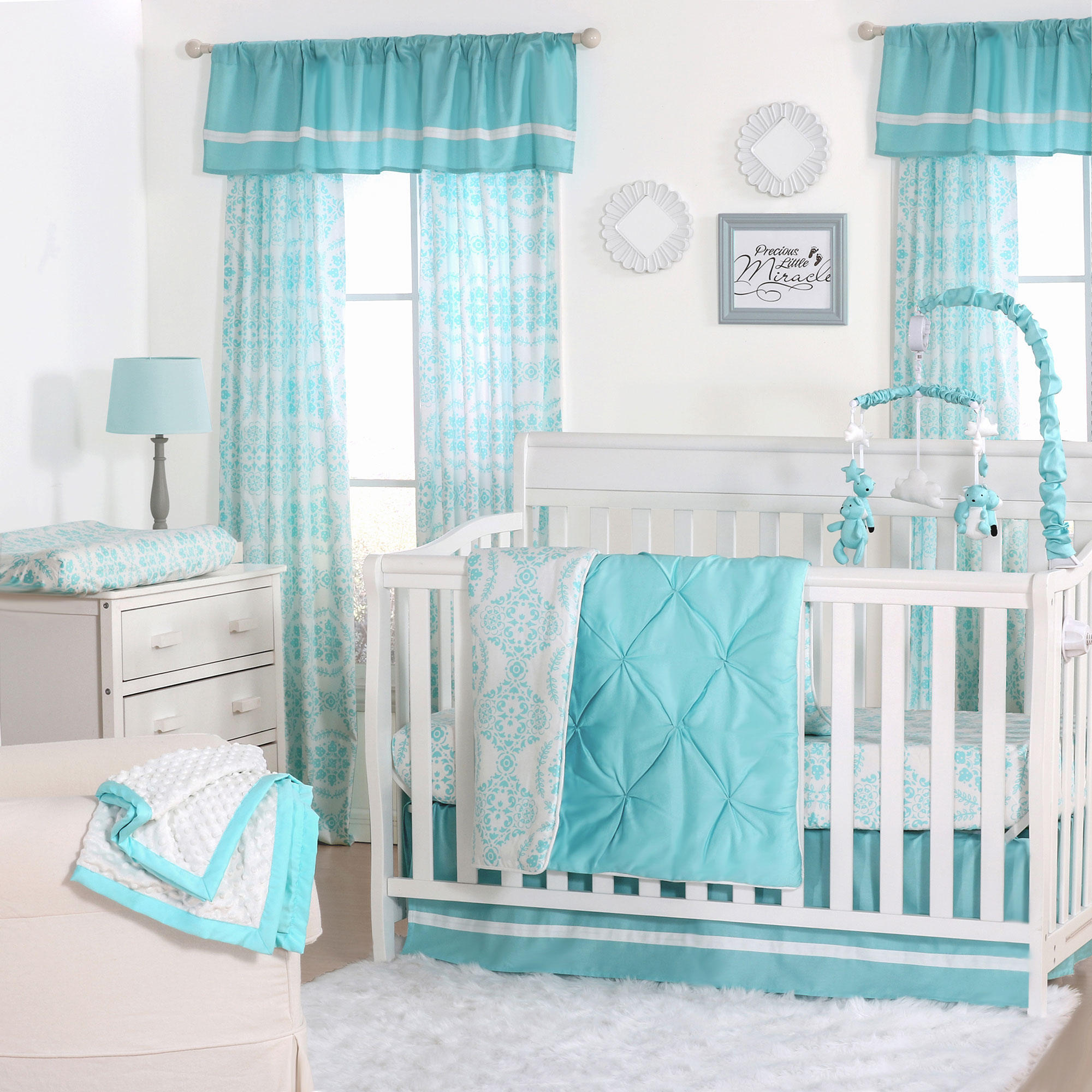aqua collection baby skirt sheet paisley in bedding pixie crib p teal cribs