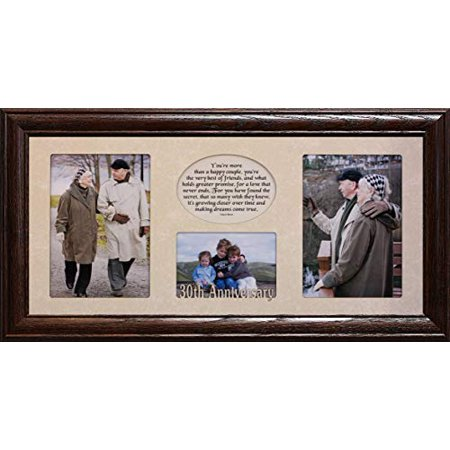 7X15 30th Anniversary Laser & Poetry 3-Opening Collage Photo/Picture Matboard & (30th Anniversary Frame)