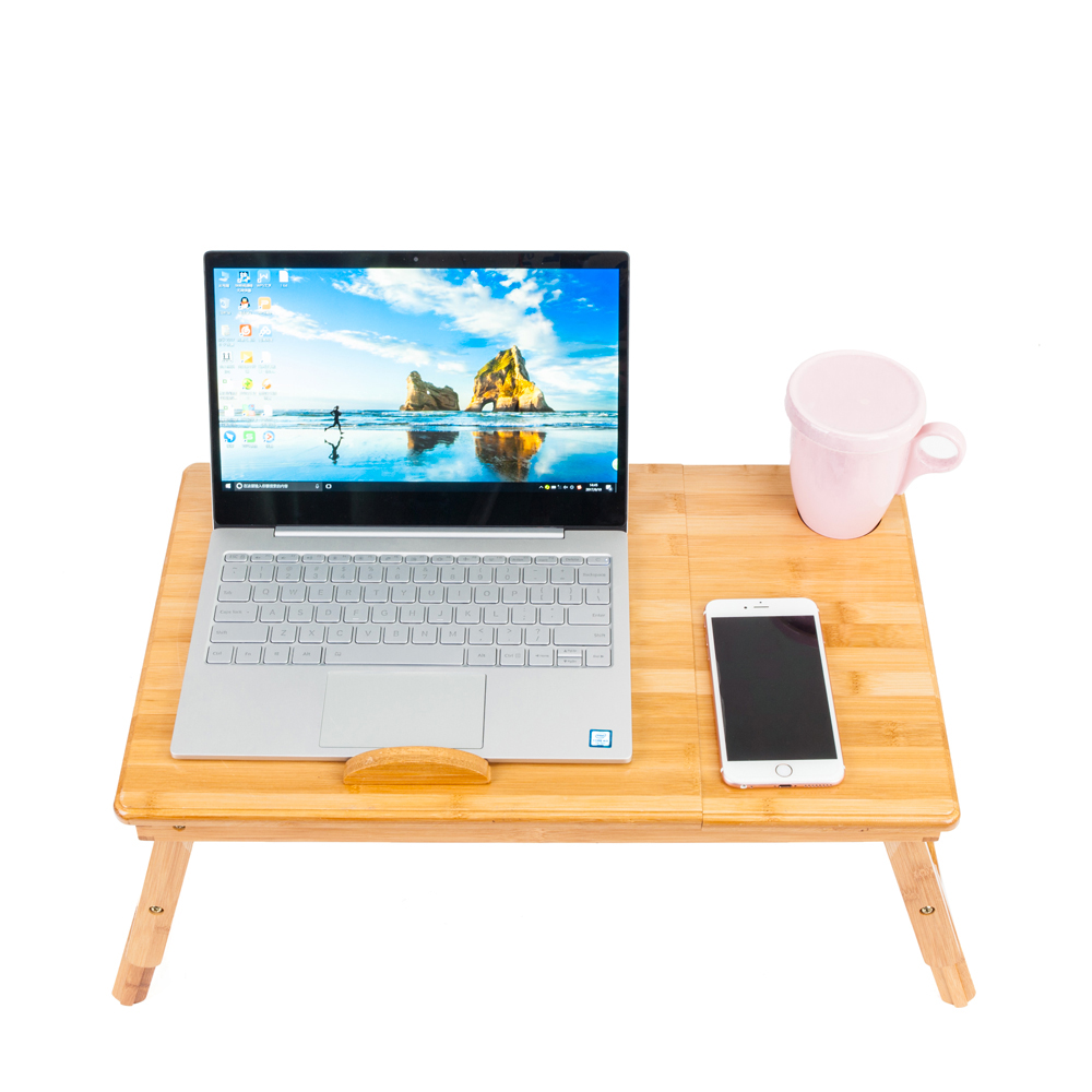 UBesGoo Bamboo Laptop Desk Serving Bed Tray Breakfast Table Tilting Top with Drawer