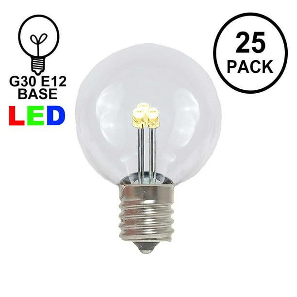 Novelty Lights 25 Pack G30 Led Outdoor, Warm White Led Outdoor Light Bulbs