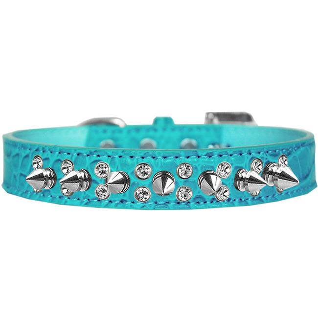Double Crystal And Spike Croc Dog Collar Turquoise Size 20 - image 1 of 1