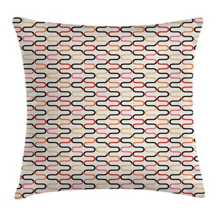 Retro Throw Pillow Cushion Cover, Vintage Textured Trippy 60s Fashion Stylish Hippie Artful Composition Curvy Forms, Decorative Square Accent Pillow Case, 20 X 20 Inches, Multicolor, by Ambesonne