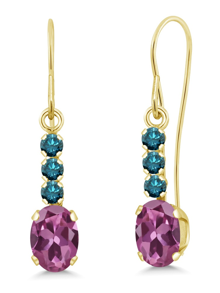 0.96 Ct Oval Pink Tourmaline AAA Blue Diamond 10K Yellow Gold Earrings by