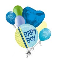 7 pc Baby Boy Ribbon Balloon Bouquet Party Decoration Welcome Home Puppy Tails