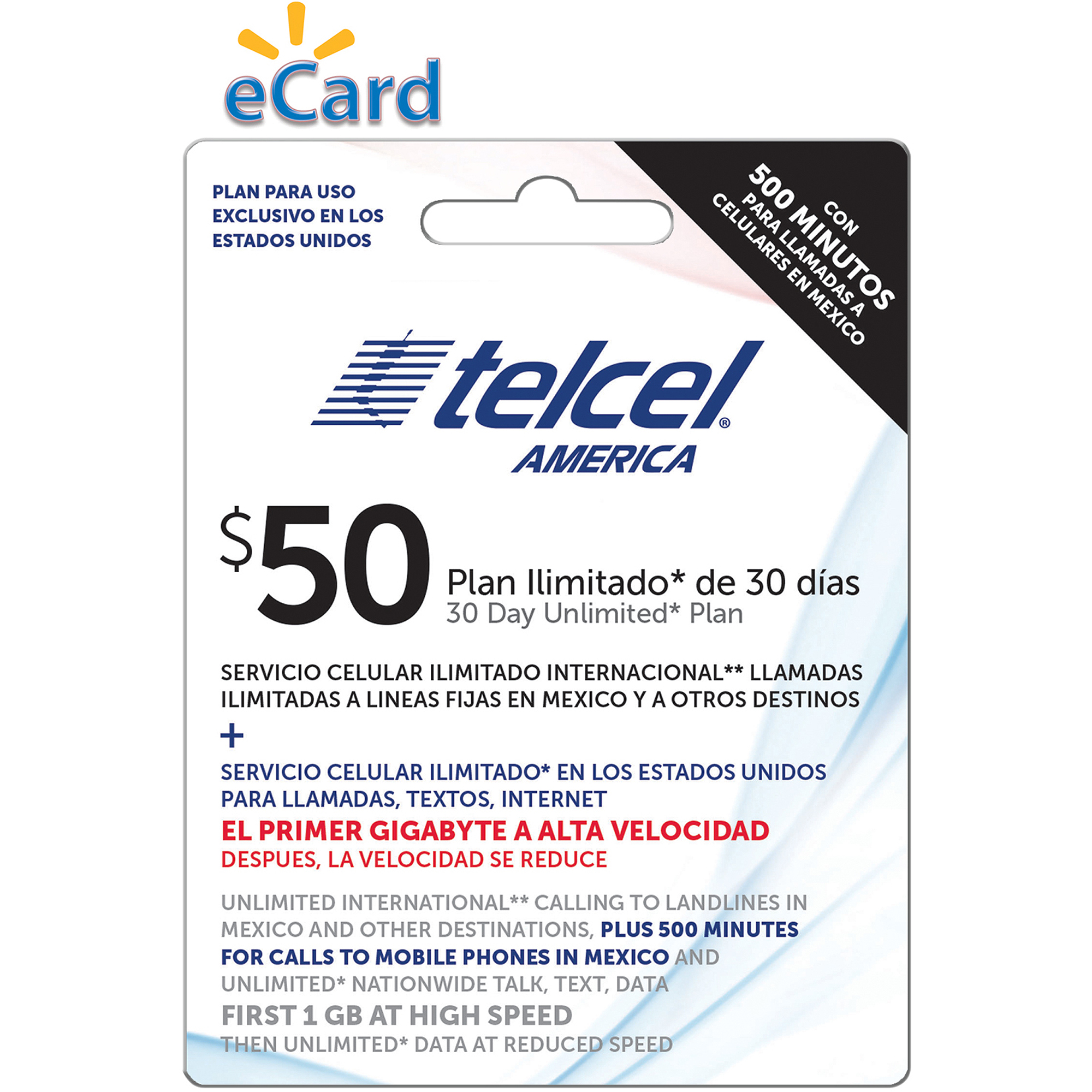 TelCel Direct Load $50 (Email Delivery)