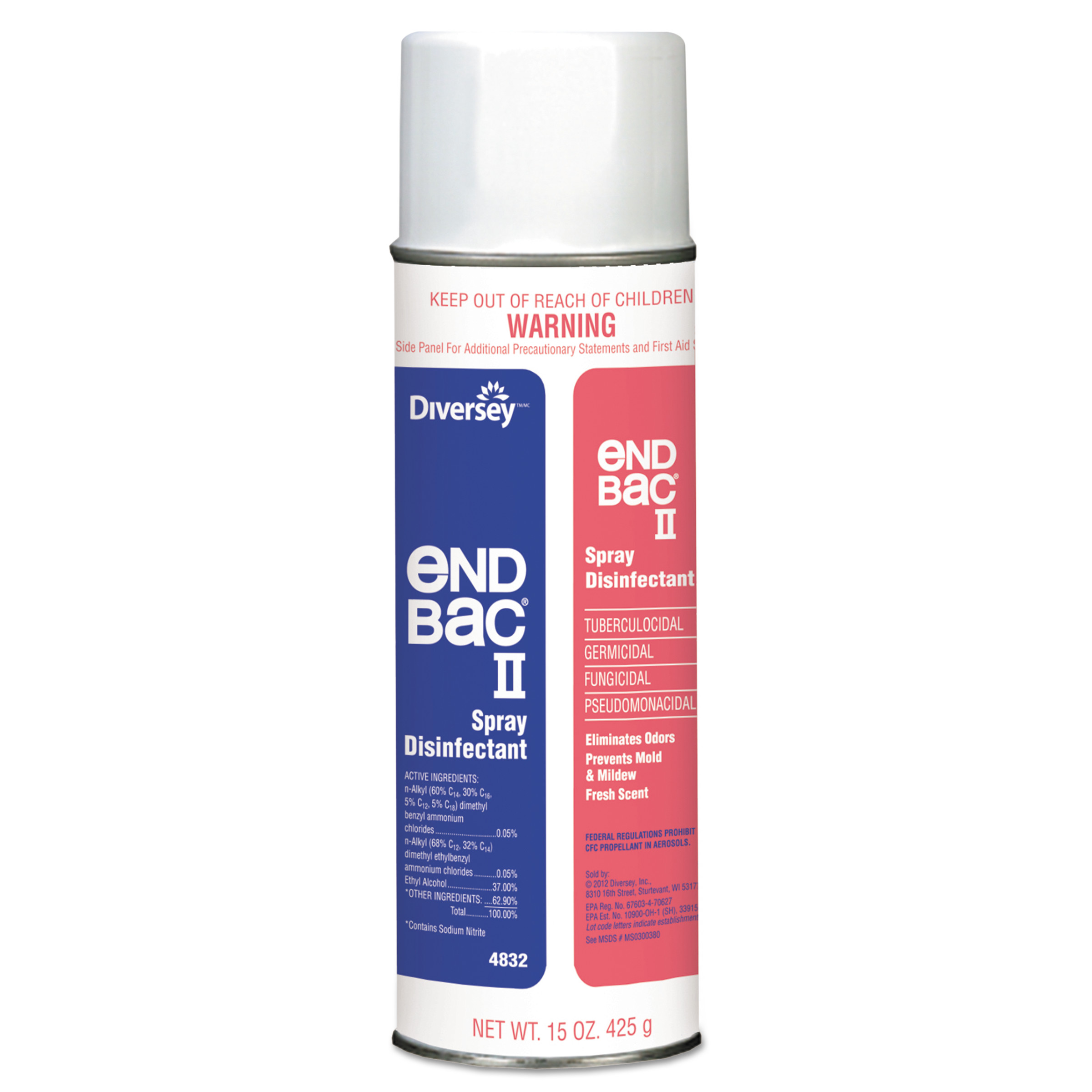 Diversey End Bac II Spray Disinfectant, Unscented, 15 oz Aerosol, 12/Carton