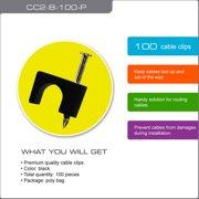 QualGear CC2-B-100-P Premium Quality RG6 Cable Clips, Black