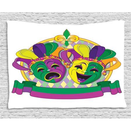 New Orleans Tapestry, Traditional Mardi Gras Comedy and Tragedy Masks Design with Rhombuses Pattern, Wall Hanging for Bedroom Living Room Dorm Decor, 60W X 40L Inches, Multicolor, by Ambesonne](Tragedy And Comedy Masks)
