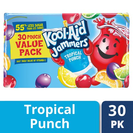 (2 pack) Kool-Aid Jammers Tropical Punch Flavored Drink 30-6 fl. oz. (Tropical Blend Juice)