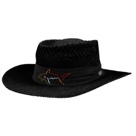 GREG NORMAN COLLECTION BRANDED STRAW HAT VENTED ONE SIZE - BLACK -  Walmart.com ad146c36c3a6