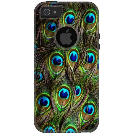 DistinctInk™ Custom Black OtterBox Commuter Series Case for Apple iPhone 5 / 5S / SE - Peacock Feathers