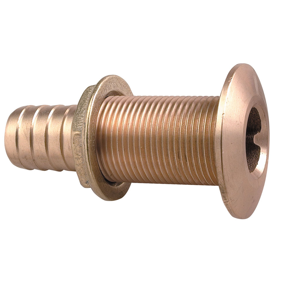 "Perko 035006ADPP Plain Bronze Thru Hull Connector with 1-3/4"" Max Hull Thickness for 1"" Hose"
