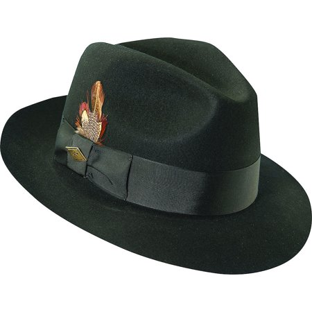 stacy adams men's cannery row black wool pinch front fedora -