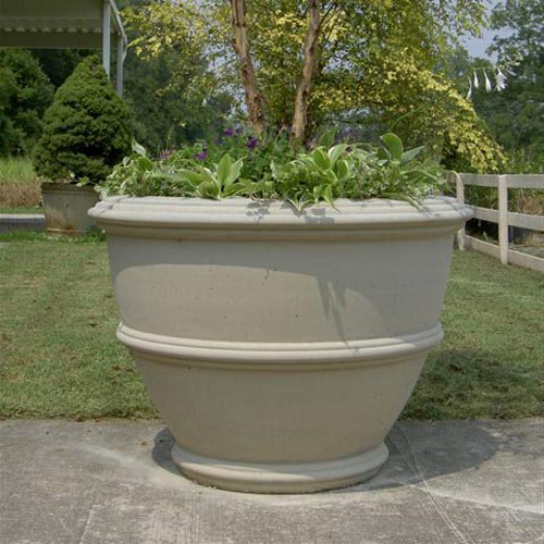 Round Fiber Reinforced Concrete Angelica Outdoor Planter