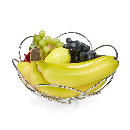 Mind Reader Modern Stainless Steel Fruit and Vegetable Basket Bowl, (China Round Vegetable Bowl)