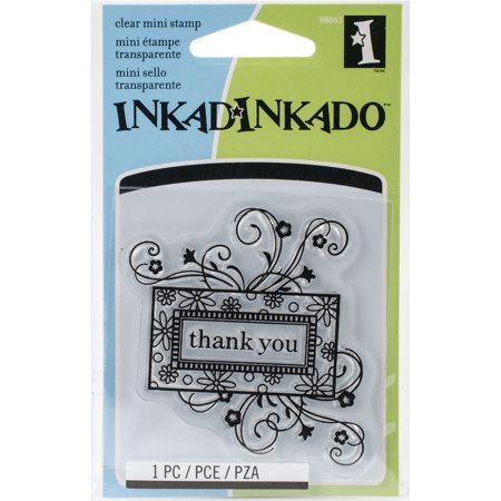 """Inkadinkado Clear Mini Stamps 2.5""""X2.5""""-Thank You Frame"""