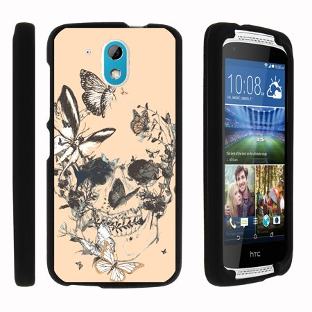 Htc Desire 526  526G  Verizon Lte    Snap Shell  Matte Black  2 Piece Snap On Rubberized Hard Plastic Cell Phone Case With Exclusive Art   Butterfly Skull