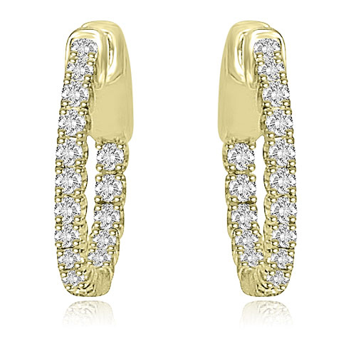 1.02 CT.TW Round Cut Diamond Hoop Earrings in 14K White, Yellow Or Rose Gold
