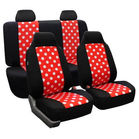 Red Polka Dot (FH Group Stylish Polka Dot Universal Seat Covers, Full Set, Red and)
