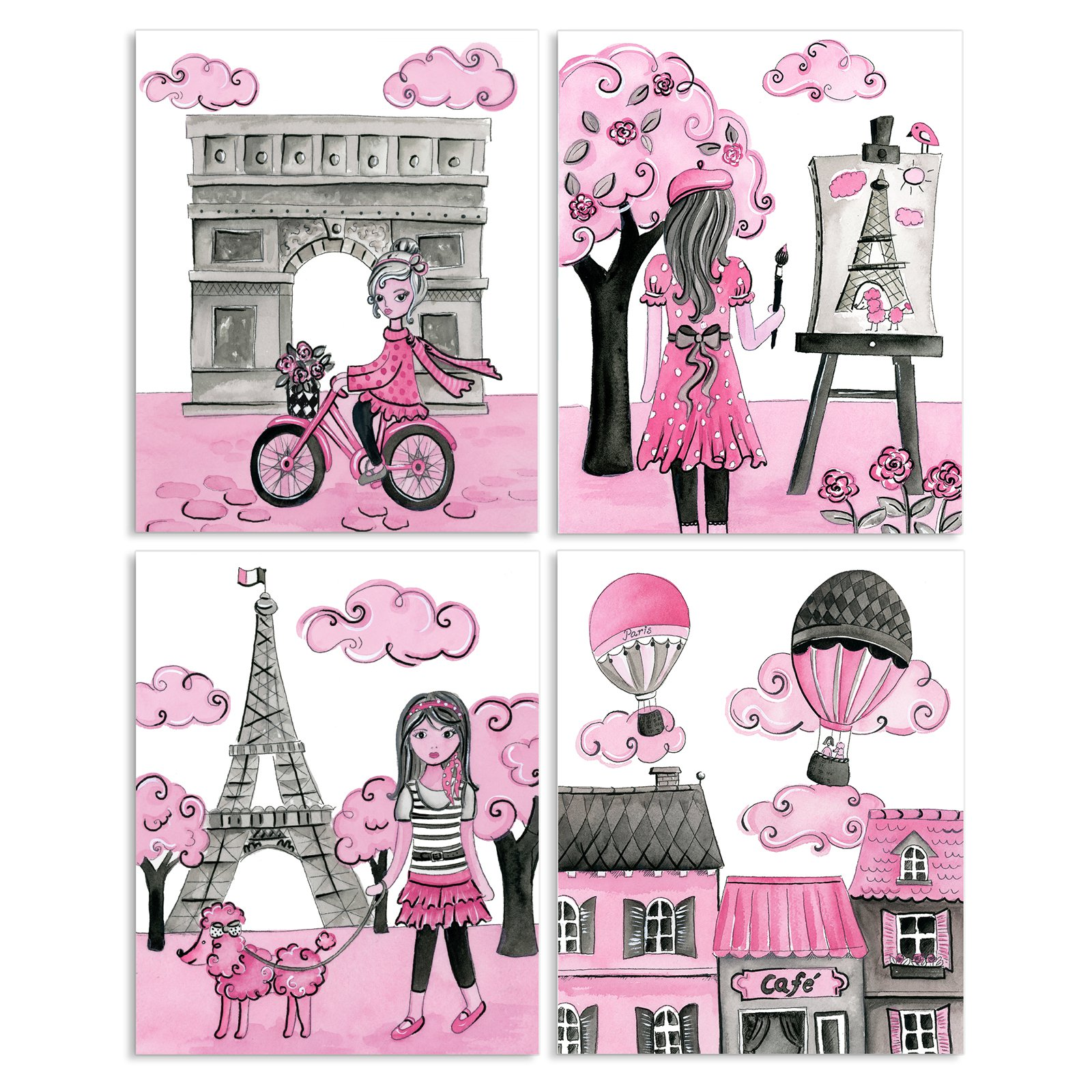The Stupell Home Decor Collection A Girl In Paris Wall Plaque   Set Of 4