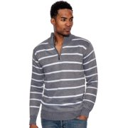 True Rock Men's Stripe Half Zip Mock Sweater (Charcoal 559, Small)