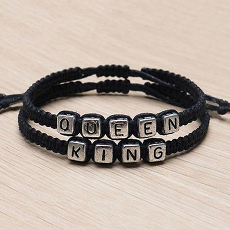Visland 1 Pair Couple Braided Handmade King And Queen His Hers Charm Bracelet Bangle - image 7 of 7