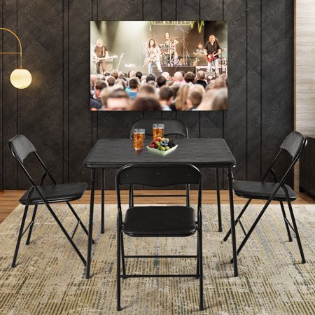 5PC Black Folding Table Chair Set Guest Games Dining Room ...