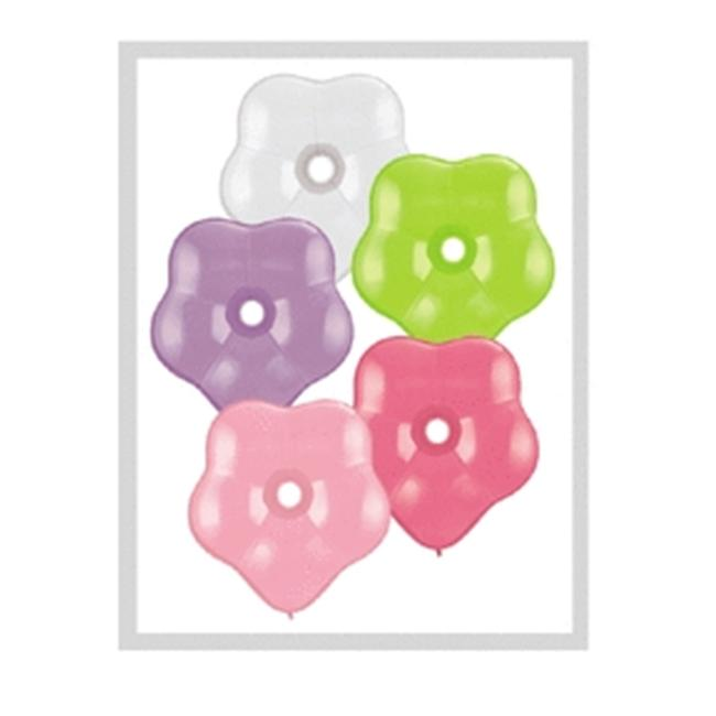 Mayflower Balloons 25870 6 Inch Geo Blossom Flower Latex Assorted Pack Of 100