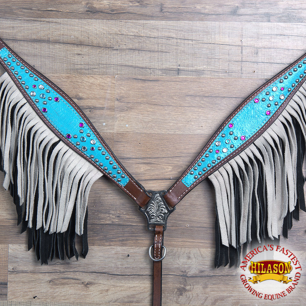 HILASON AMERICAN LEATHER HORSE BREAST COLLAR BROWN TURQUOISE PURPLE CRYSTAL