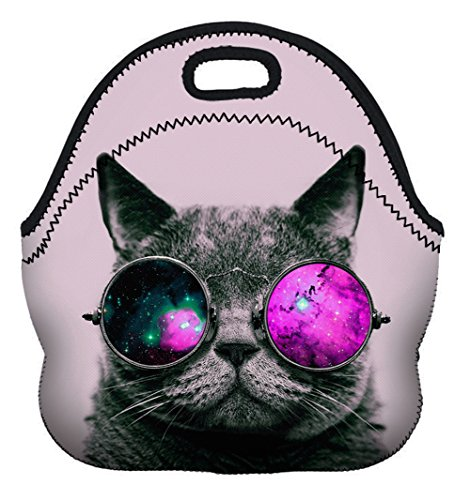 StylesILove 3D print Picnic Snack Neoprene Insulated Cooler Lunch Tote Bag (Cosmo Cat Lavender)