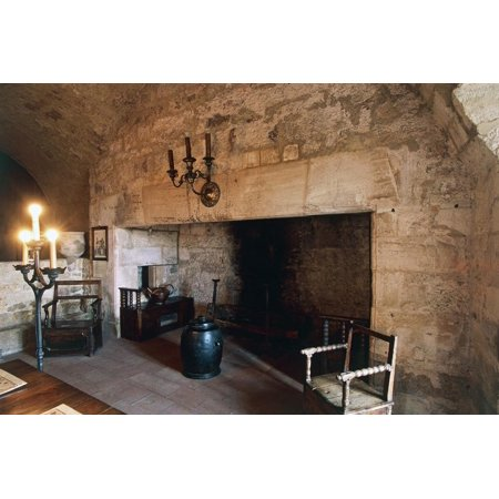 Large Fireplace in Dungeon Room in Chateau of Turenne, 14th Century, Limousin, France Print Wall Art](Dungeon Wall)