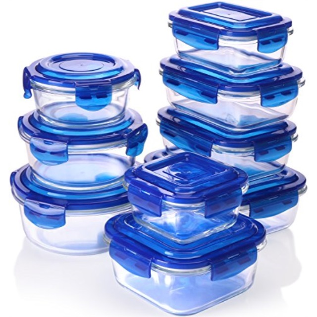 18 Pieces Glass Food Storage Container set with Airtight Lids Free Shipping