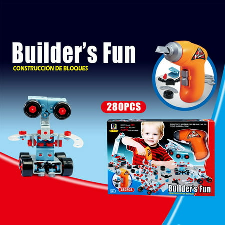 280 Piece Educational Construction Engineering Toy Drill Building Blocks Set for 3, 4 and 5+ Year Old Boys & Girls. Pure Engaging Fun and STEM Learning Kit! The Best Toy Gift for Kids Ages 3yr ? 6yr.
