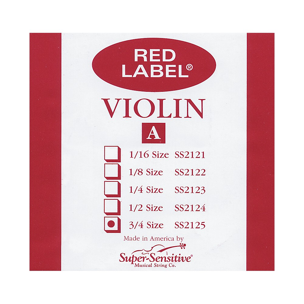Super Sensitive Red Label Violin A String  3/4