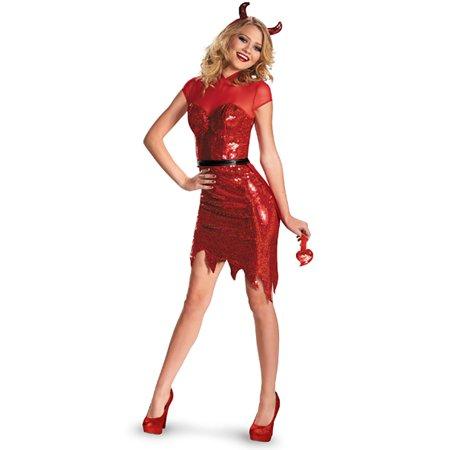 Deluxe Glam Sequin Devil Women's Adult Halloween Costume