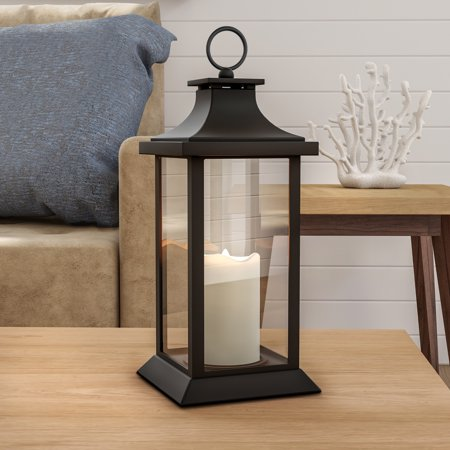 Decorative Candle Lantern with Vintage Style Design-Color Changing Flameless LED Pillar Candle and Remote Control with Timer By Lavish (Chrome Decorative Pillar Posts)