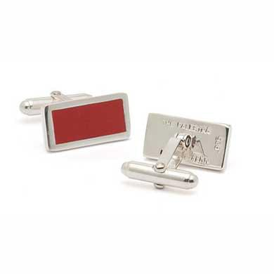 Penn Palestra SS Cufflinks with Red Wood Inlay