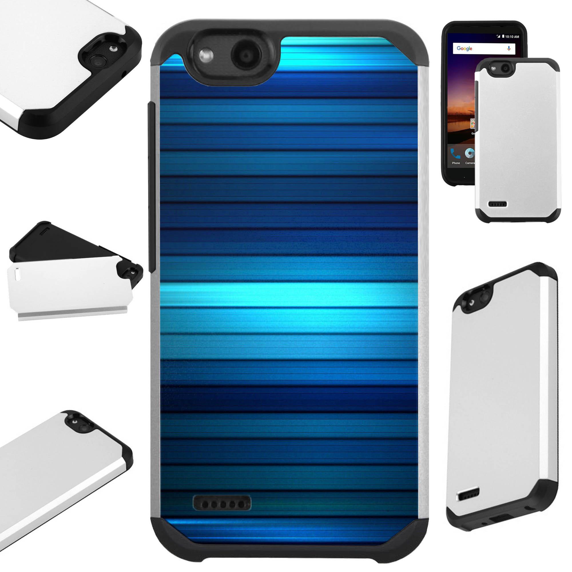 For ZTE ZFive G LTE / ZFive C / Avid 4 / Fanfare 3 / Blade Vantage / Tempo X / Tempo Go Case Hybrid TPU Fusion Phone Cover (Blue Fence)
